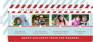 Blue and Red Timeline Holiday Photo Card