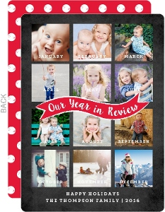 Month By Month Year in Review Holiday Photo Card
