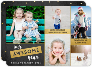 Gold Chalkboard Year in Review Holiday Photo Card