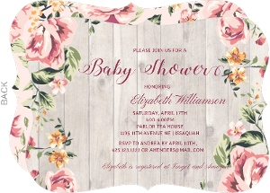 Woodgrain Floral Baby Shower Invitation