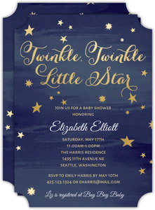 Twinkling Stars Baby Shower Invitation