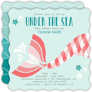 Coral Mermaid Baby Shower Invitation