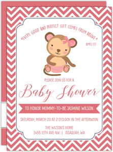 Pink Little Monkey Baby Shower Invitation