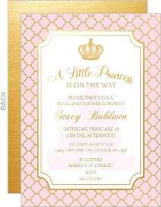 Quatrefoil Pattern Princess Baby Shower Invitation