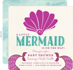 Watercolor And Sea Shell Baby Shower Invitation