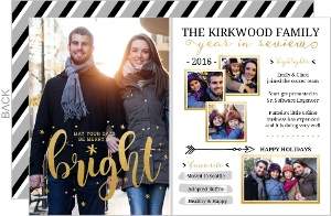 Bright Faux Foil Highlights Year in Review Holiday Card