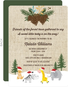 Snowy Safari Animals Baby Shower Invitation