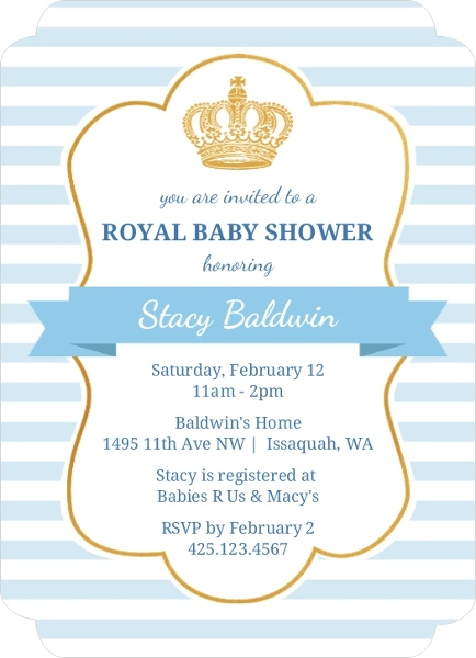 light blue royal baby shower invitation invite shop