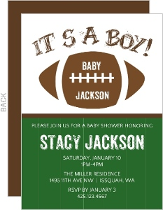 Football Boy Baby Shower Invitation