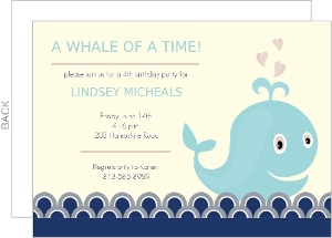 Blue Charming Whale Baby Shower Invitation