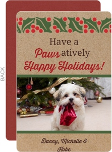 Happy Holiday Paws Pet Photo Card