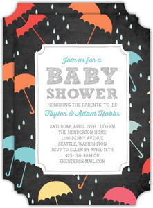 Colorful Umbrella Chalkboard Baby Shower Invitation