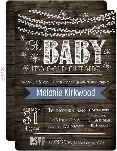 Sparkly Light Woodgrain Baby Shower Invitation