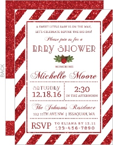 Festive Red Glitter Baby Shower Invitation