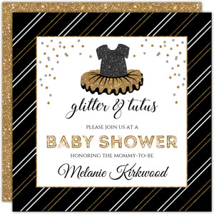 Stripes & Faux Glitter Ballerina Baby Shower Invitation