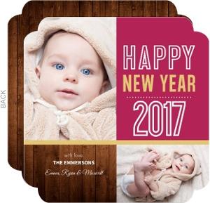 Rustic Ruby Woodgrain New Years Card