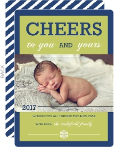 Blue Cheerful Memories New Years Card