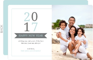 Gray Blue Bold Numbers New Years Card