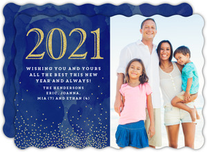 Navy Watercolor New Years Card