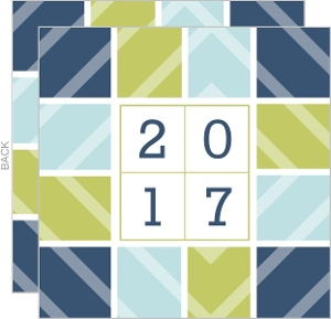 Winter Blue Chevron New Years Card