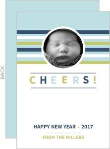 Striped Monogram Photo New Years Card