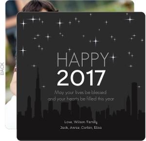 Night Skyline New Years Card