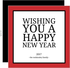 Simple Red Border New Years Card