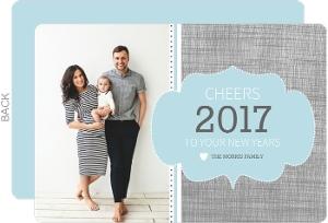 Modern Linen Frame New Years Card