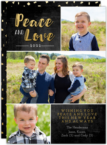 Peace and Love New Years Chalkboard Multi Photo Card
