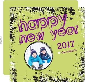 Rockin Retro Green New Years Card