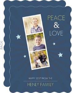 Navy Photo Stripe Memories New Years Card