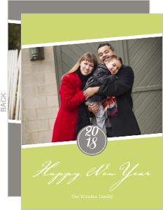 Green Modern Monogram New Years Card