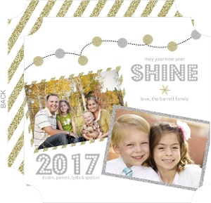 Whimsical Faux Glitter Lights New Years Card