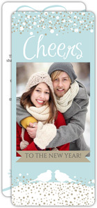 Blue Winter Snowfall New Years Card