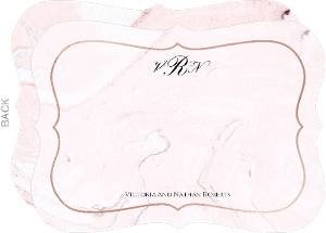 Classic Blush Marble Wedding Correspondence Card