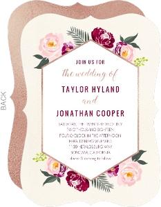 Boho Rose Gold Floral Wedding Invitation
