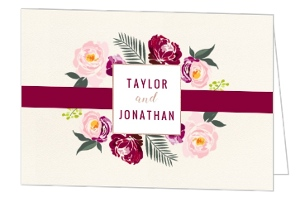 Boho Rose Gold Floral Wedding Thank You Card