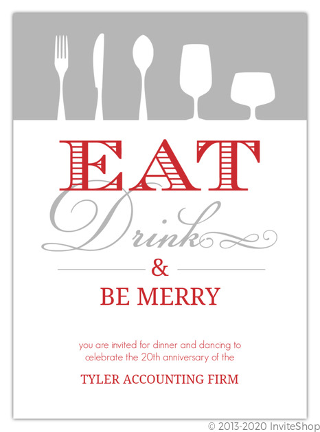 Red Gray Eat Drink Be Merry Business Holiday Party Invitations
