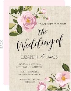 Pink Roses Burlap Wedding Invitation