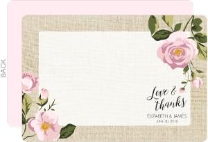 Pink Roses Burlap Thank You Card