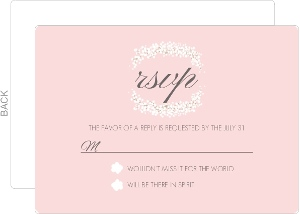 Pale Pink Gold Foil Floral Wedding Response Card