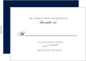 Navy and Gold Foil Stripe Wedding Response Card