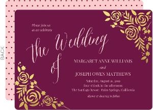 Burgundy Gold Foil Floral Wedding Invitation