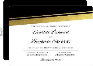 Modern Black and Gold Foil Wedding Invitation