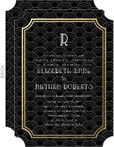 Art Deco Black and Gold Foil Frame Wedding Invitation