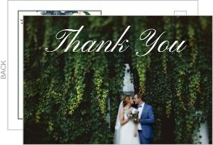 Elegant Blue Floral Wedding Thank You Postcard