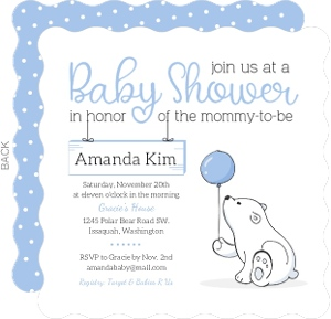 Soft Blue Polar Bear Baby Shower Invitation