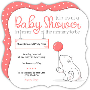 Soft Pink Polar Bear Baby Shower Invitation