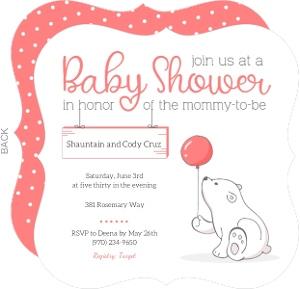 Soft Pink Polar Bear Baby Shower Invitation
