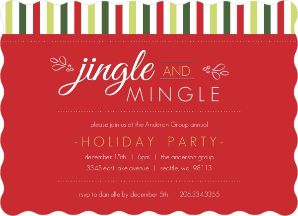 Jingle Mingle Green Stripes Business Holiday Party ...